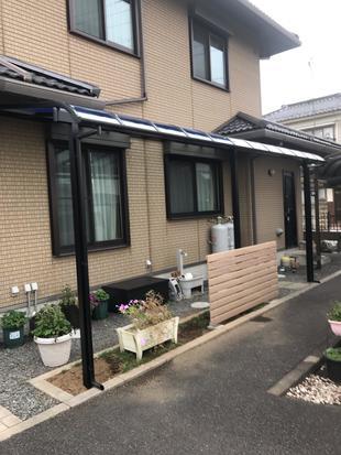 【古河市】テラス屋根設置工事