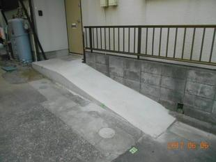 外構スローブ設置、室内手すり取付工事
