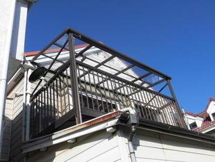 市川市ベランダ屋根台風被害修理