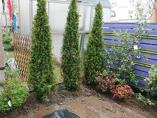 既存の塀を活かして、和洋折衷の美しい庭園に