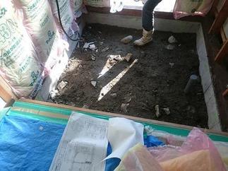 まずは既存の解体、床下の石の撤去