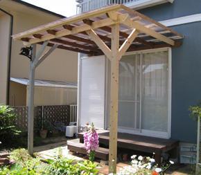 木製テラス庇修理