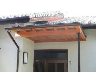 老朽化した 玄関庇 の交換工事