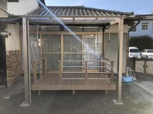 外壁に接触しないテラス屋根 八幡西区I様邸 エクステリアリフォーム