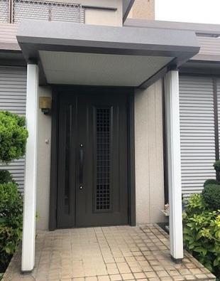 和歌山市 玄関ドア交換・庇塗装リフォーム