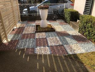 白井市 防草シート+お洒落なカラーの砂利敷き工事