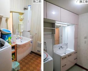 収納量が倍増し機能的な洗面所スペースに