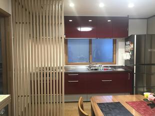 L型キッチンを開放的なI型キッチン交換