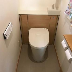 トイレリフォーム:LIXILキャビネット付空間すっきりトイレ「リフォレ」交換工事