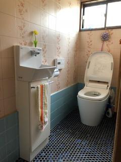 トイレ交換工事+手洗い設置工事