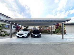 砂利の駐車場をしっかり整備(富士川町)