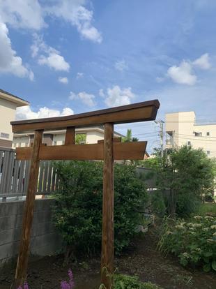 鳥居の修理 in 川口市東領家