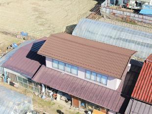 屋根の葺き替え <ドローン撮影>