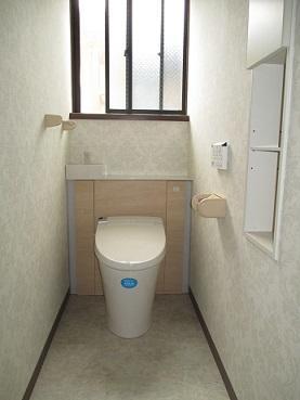 収納力もあり、お掃除がしやすいトイレ